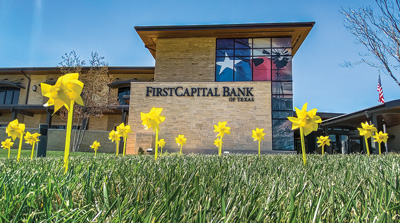 FirstCapital Bank of Texas display yellow pinwheels on the lawn of all of its Amarillo branches to show support for local healthcare workers.