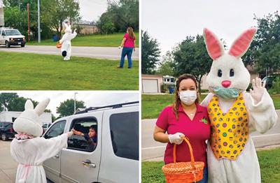 Texas Community Bank Somerset Branch's Easter Bunny showed up to spread a little Easter cheer to the community with masks and gloves of course!