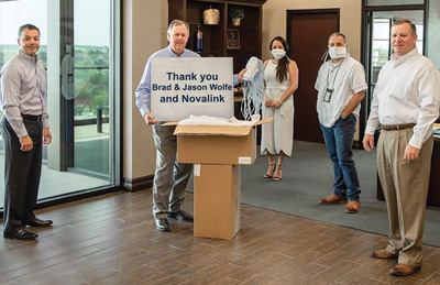 Texas Regional Bank partners with NovaLink to donate 1,200 protective masks to fight the coronavirus (COVID-19) pandemic.