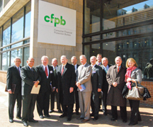 Texas bankers stand in front of the CFPB offices in Washington